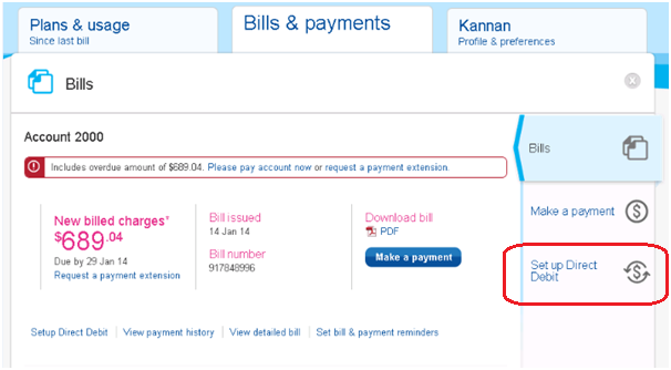 how to set up telstra recharge from a savings account
