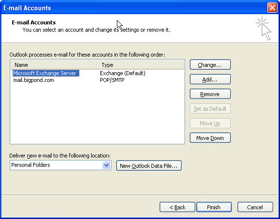 how to change outgoing mail server in outlook to bigpond